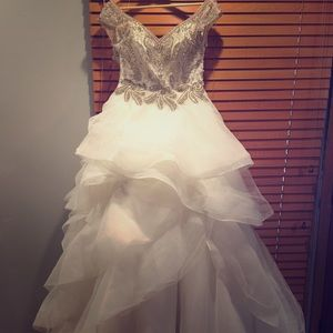 Gorgeous rhinestone beaded tulle wedding dress